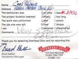 Advanced Overhead Door by Customer Testimonials Overhead Door Company Of Houston