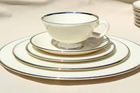 Lenox China Montclair Silver Platinum Trim Ivory China Vintage Dinnerware Set For 8