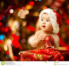baby in santa hat present gift box royalty free