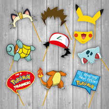 printable photo booth party props pokemon 25 photo booth props
