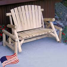 Rustic Outdoor Bench by Lakeland Mills Classic White Cedar Log Rocking Loveseat Bench
