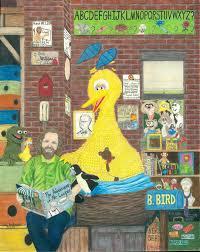 fan art jim henson reading big bird a story in his nest