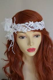 lace headband ready to ship ivory lace flower headband flower with feathers a