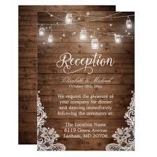reception invitations rustic wood jar string lights lace reception card zazzle