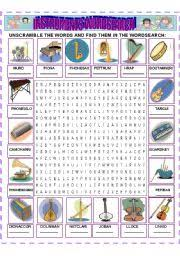 worksheet instruments wordsearch