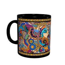 peacock admiration black mug u2013 kolorobia art in life