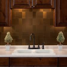 Peel And Stick Backsplash For Kitchen Amazon Com Aspect Peel And Stick Backsplash Brushed Bronze Short