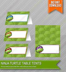 free printable table tents ninja turtles birthday food table tents cards blank instant