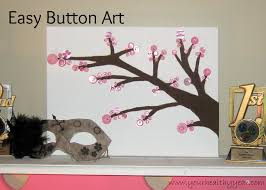 diy button art easy cherry tree blossom