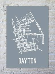 dayton map dayton ohio map print posters