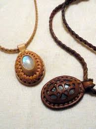 leather necklace pendants images Petoskey stone and leather pendant necklace coral fossil jpg