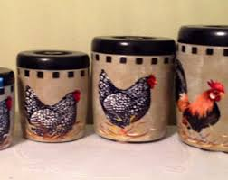rooster kitchen canisters chicken canister set etsy