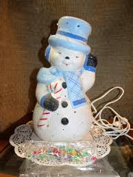 vintage snowman lamp lighted christmas holiday decoration