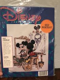disney self portrait mickey cross stitch kit craft project 16x20