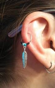 hoop earring on cartilage feather cartilage hoop earring feather piercing gold hoop gold