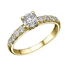 gold engagement rings uk 1 ct diamond solitaire engagement ring in 18k yellow gold
