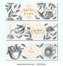 tea shop banner set vertical banner stock vector 514830709