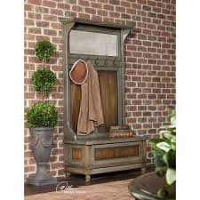 riyo mango wood entry hall bench with coat rack uttermost hall