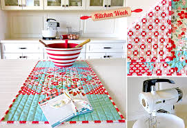 patchwork table runner with line quilting sew4home