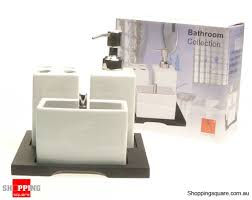 Wooden Bathroom Accessories Set by Porcelain Bathroom Accessories Set With Wood Stand Online