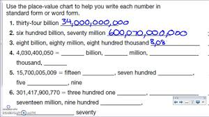 place value in expanded form place value through billions standard word and expanded number