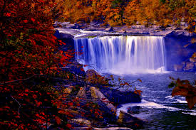 waterfall autumn leaves falls fall waterfalls forest colors nature
