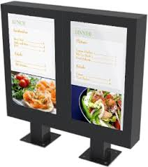 cuisine outdoor outdoor digital menu board enclosure serve restaurant