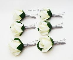 groomsmen boutonnieres silver grey white real touch boutonniere groom groomsmen