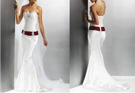 wedding dresses 500 satin dropped waist trumpet wedding dress with belt