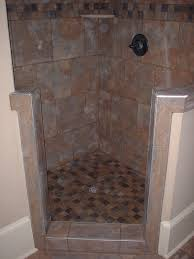 open tile shower small bathroom with vaulted ceiling open shower