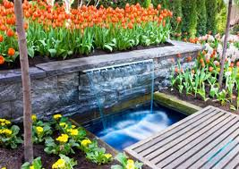garden design with backyard waterfalls outdoor furniture also