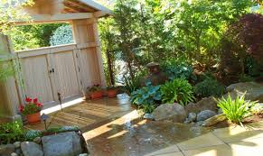 excellent modern backyard landscape design with green plant