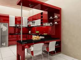 kitchen room minimalist interior concept with red kitchen