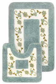 Blue Bath Mat Super Soft Floral Bath Mat 15pc Set Shower Curtain Hooks