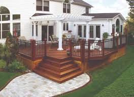 Pergola Off House by Wood Deck With Pergola And Paver Walkway Archadeck Outdoor Living