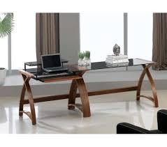 Modern Laptop Desk by Curve Office Walnut And Black Glass Laptop Desk