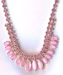 pink rhinestone necklace images Vintage pink jewelry vintage costume jewelry JPG