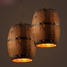 Wooden Pendant Lights Vintage Wooden Barrel Pendant L Loft Style Hanging L