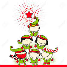 Christmas Tree Costume For Kids - cute kids in costumes of elves created a christmas tree pyramid