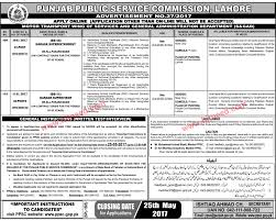 punjab public service commission jobs advertisement no 27 2017