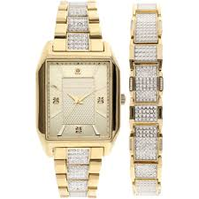 bracelet gold watches images Elgin men 39 s crystal accented watch and matching bracelet gold jpeg
