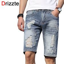 Ripped Denim Jeans For Men Drizzte Mens Shorts Lightweight Denim Distress Ripped Jeans Short