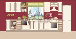 home interior vector vector kitchen interior flat design stylization vector