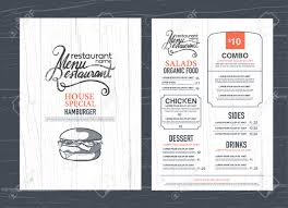 vintage restaurant menu design and wood texture background