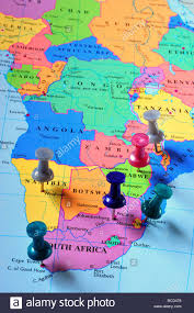 Map Pins Map Pins In Southern Africa Map Stock Photo Royalty Free Image
