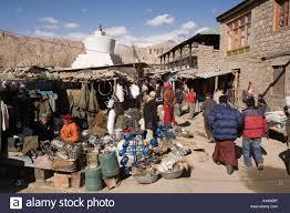 india ladakh leh bazaar in winter hardware stalls stock photo