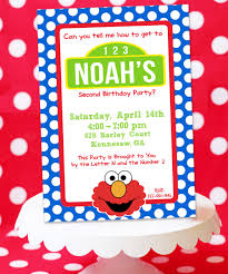 elmo sesame street inspired birthday invitation card design with
