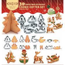 8 unids 3d navidad escenario conjunto cortador de galletas