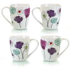 sabichi set of 4 aster floral mugs porcelain tea coffee cups gift