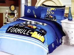 blue formula one race cars 4pc twin duvet bedding set for boys